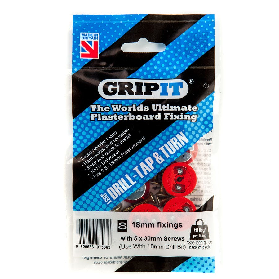 Compare prices for Grip It GripIt 18mm Plasterboard Fixings - Pack of 8