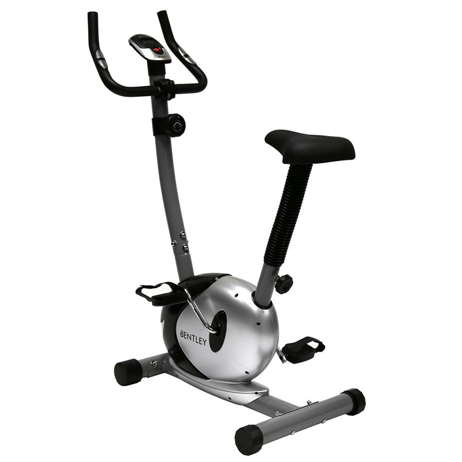 Charles Bentley Fitness Upright Magnetic Exercise Indoor Bike Machine Black & Silver