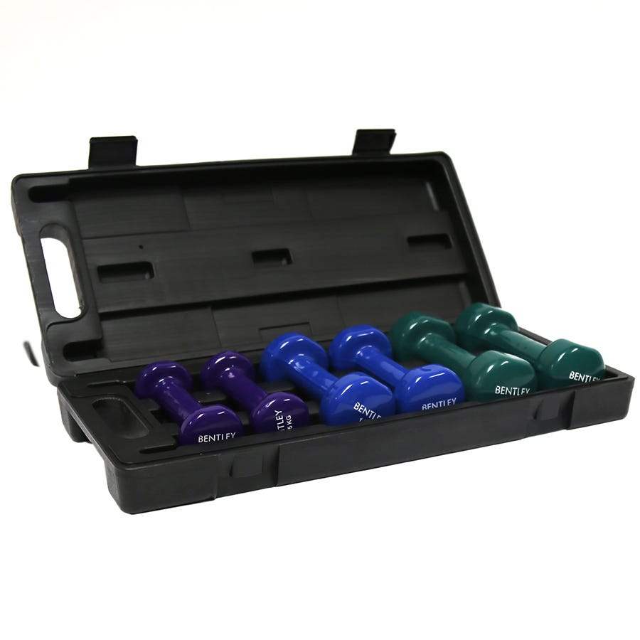 Charles Bentley Womens Set Of 6kg Dumbbell In Vinyl With Black Carry Case