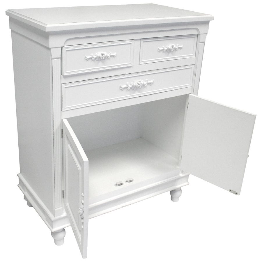 Charles Bentley Belgravia Floral Cabinet Sideboard - White