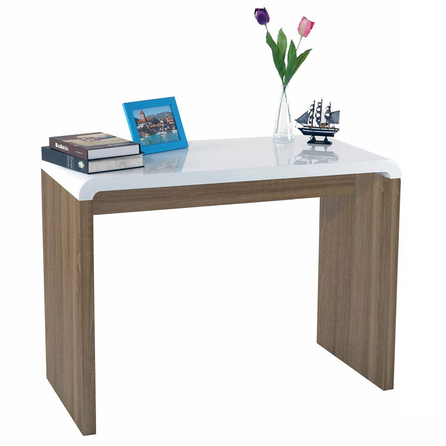 Charles Bentley Walnut Gloss Console Table - White