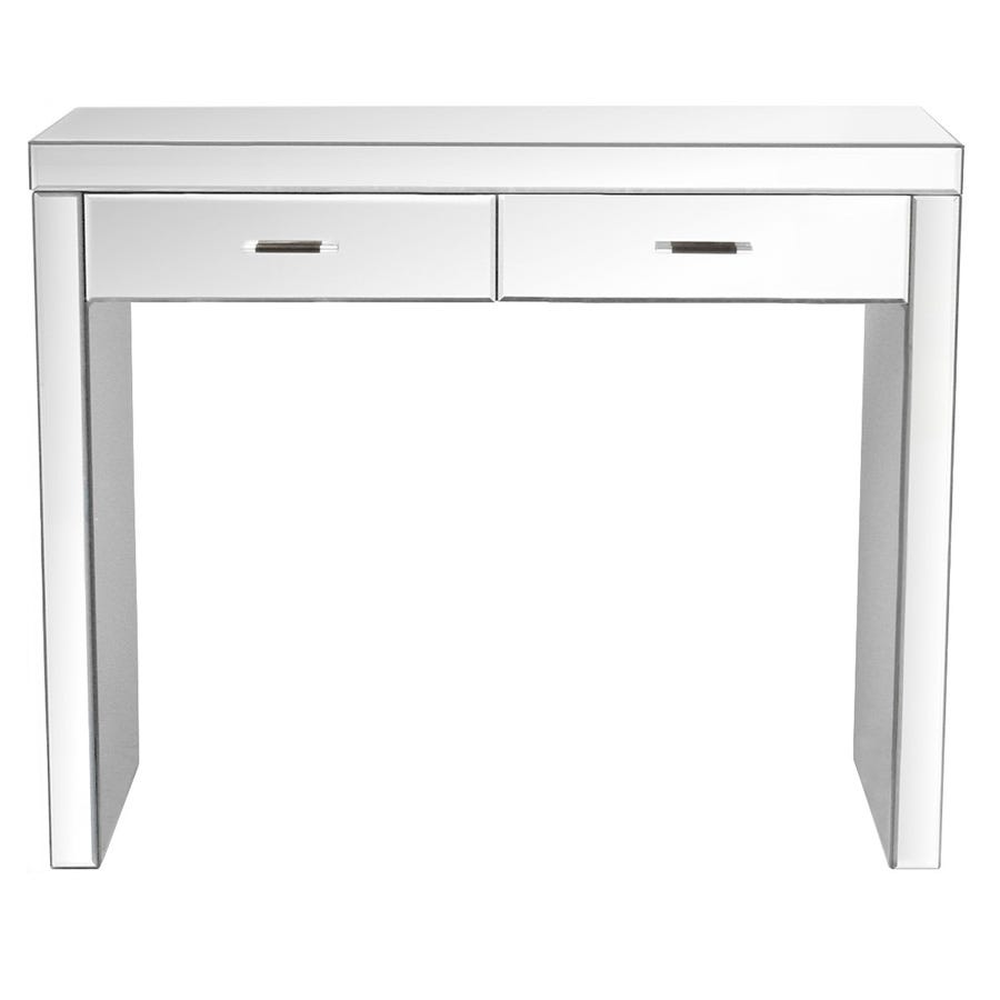 Charles Bentley Mirrored Glass Console Table with Drawers - White
