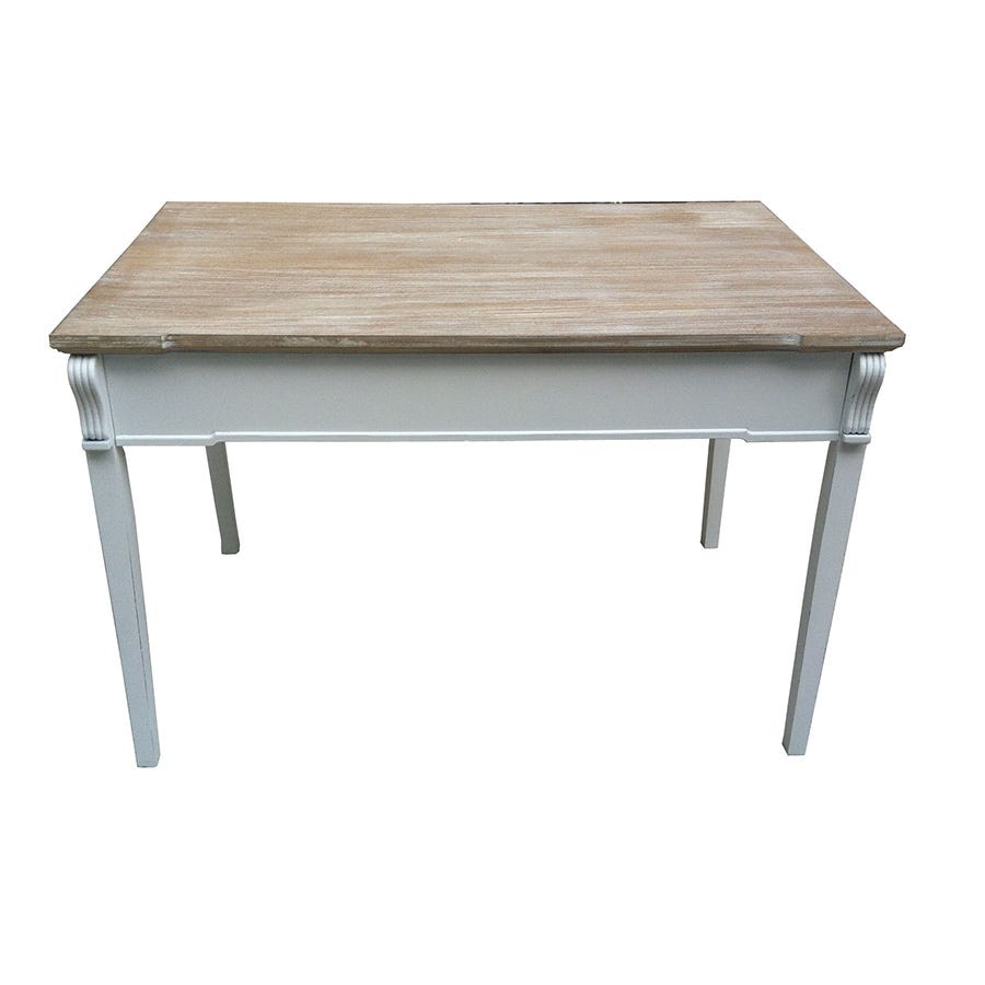 Charles Bentley Shabby Chic Dining Table Vintage French Style - White&Distressed