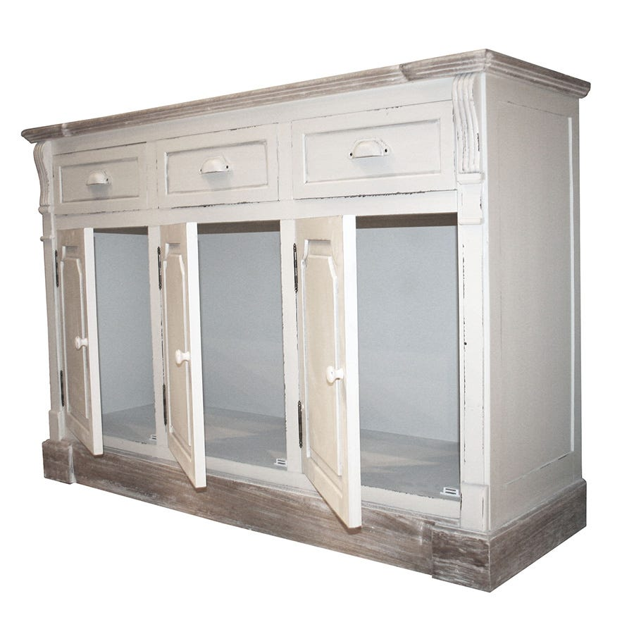Charles Bentley Shabby Chic Vintage French Style Cabinet Sideboard with Drawers - White