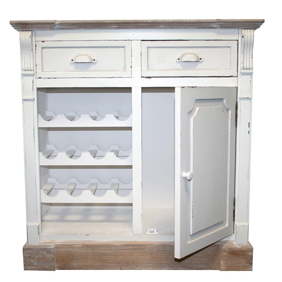 Charles Bentley Shabby Chic Vintage French Style Cabinet Sideboard with Wine Rack - White