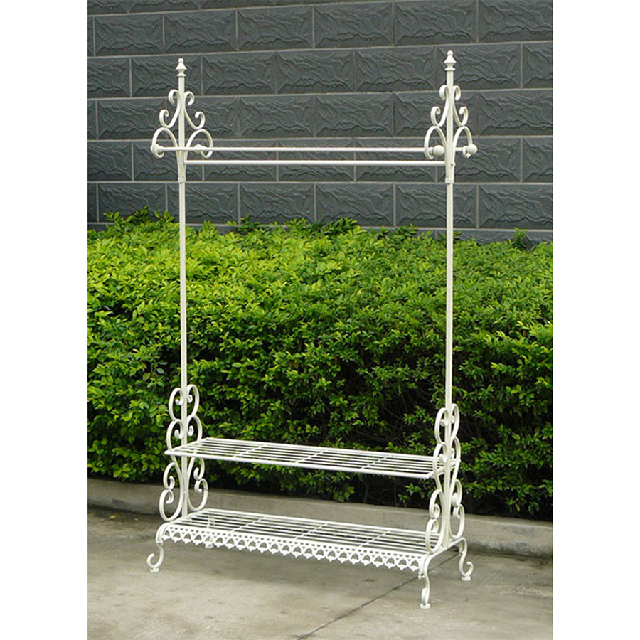 Charles Bentley Wrought Iron Clothes and Shoe Rack - White