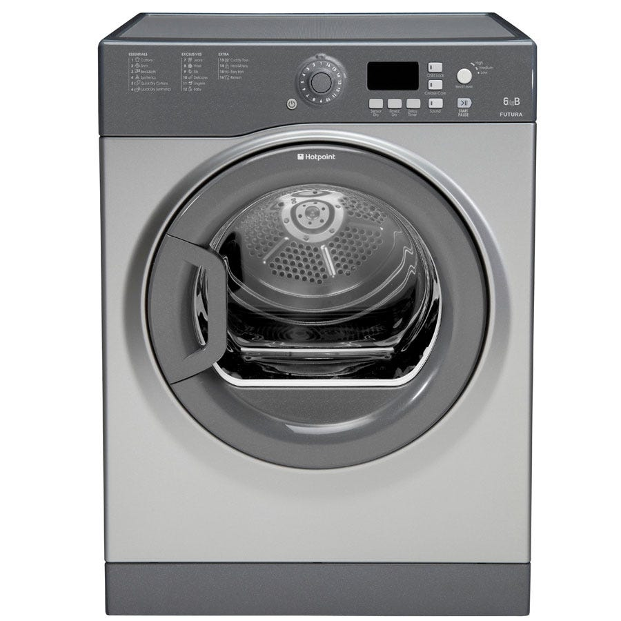Compare prices for Hotpoint Aquarius FTVFG65BGG Vented Tumble Dryer 6kg - Graphite