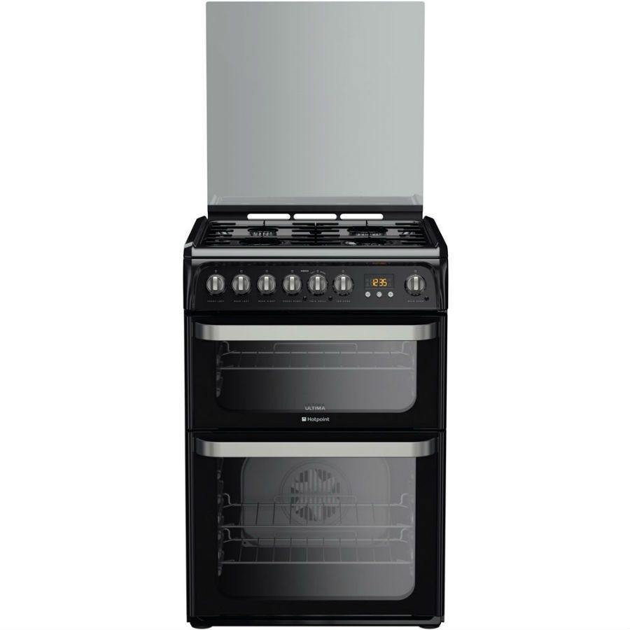 Compare prices for Hotpoint Ultima HUD61KS Dual Fuel Cooker - Black