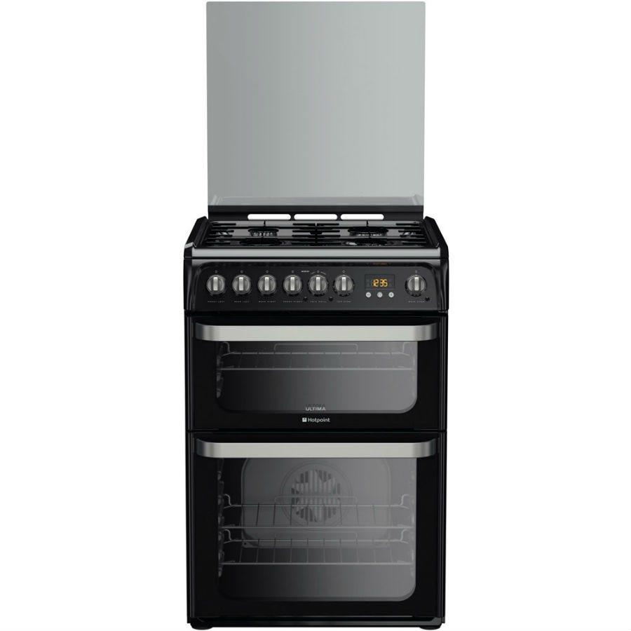 Hotpoint HUD61KS Dual Fuel Cooker, Black