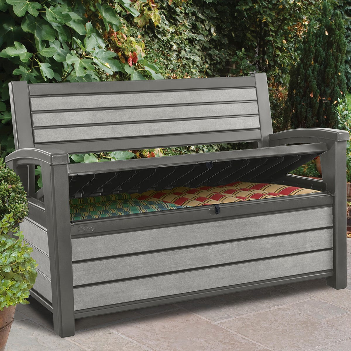 Keter Hudson 227L Storage Bench - Grey