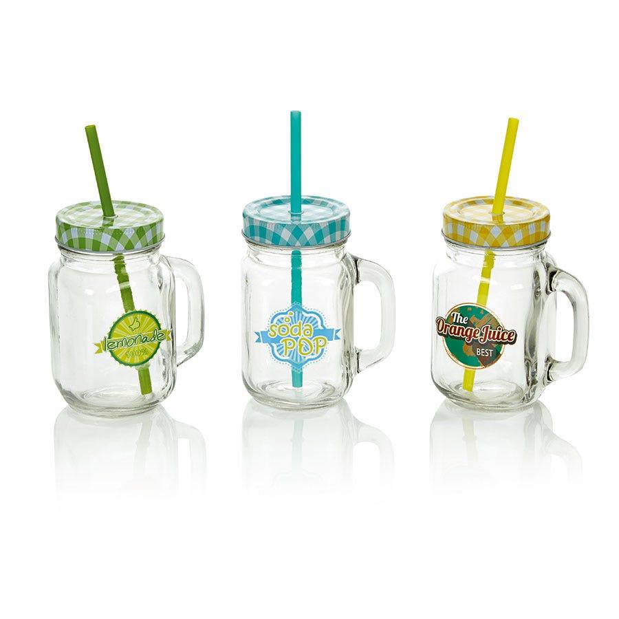 Robert Dyas/Outdoors/Birds & Pets/Jam Jar Glass with Straw