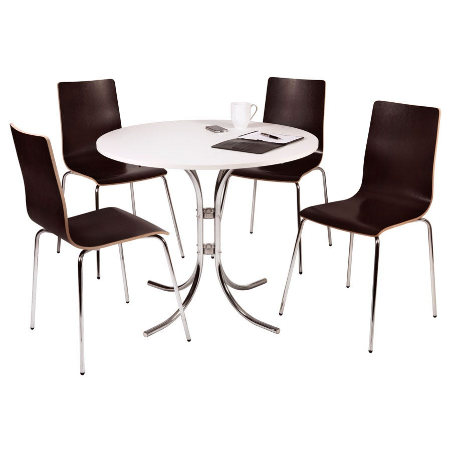 Teknik Loft Bistro Set with a White Table and Four Wenge-Coloured Chairs