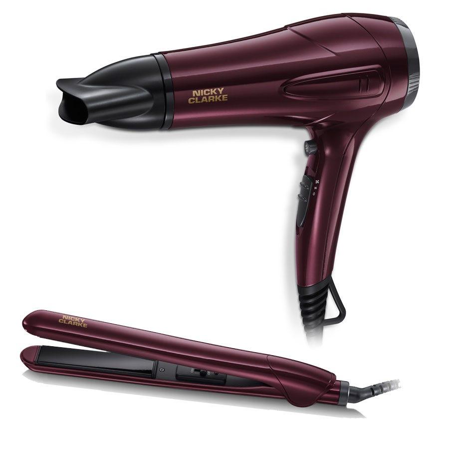 Nicky Clarke Dry & Style Hairdryer and Straightener Gift Set - Midnight Burgundy