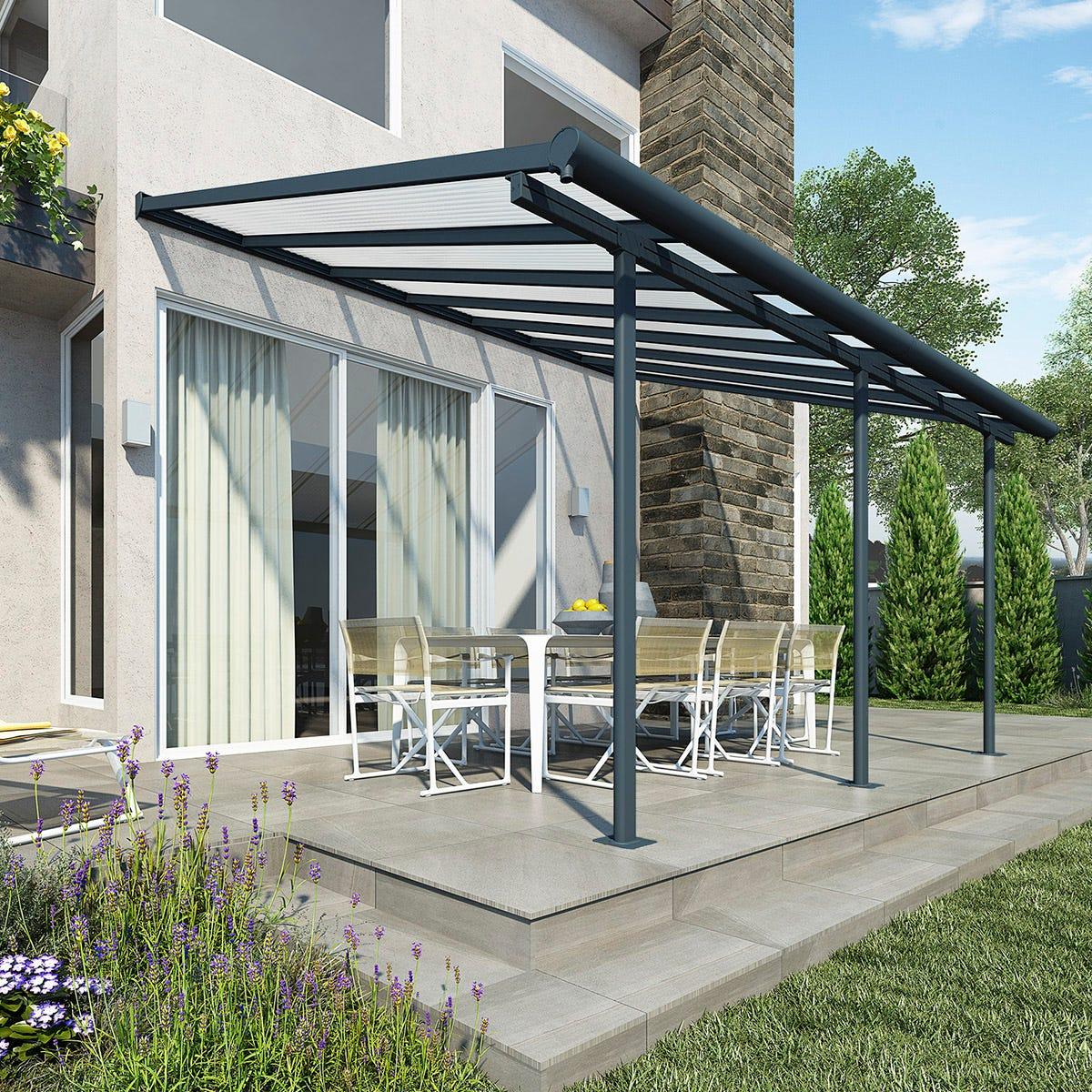 Palram - Canopia Sierra Patio Cover 3m x 4.25m - Grey Clear