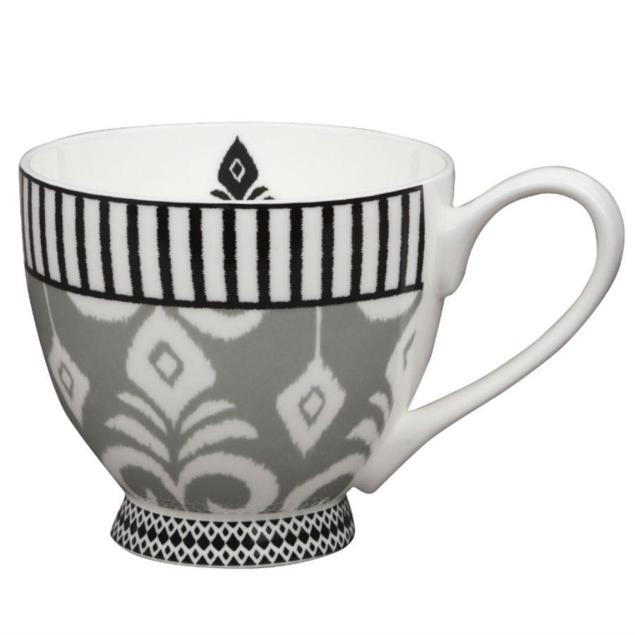 Image of Portobello Ikat Fine Bone China Mug – Grey