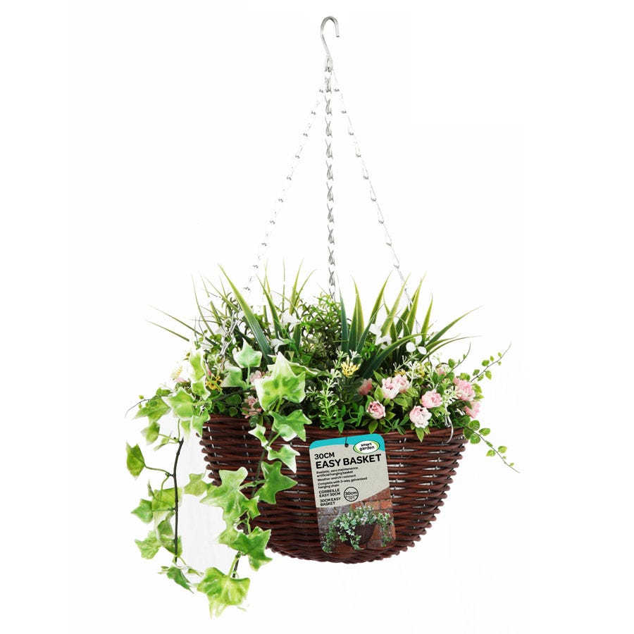 Image of Robert Dyas 30cm Easy Hanging Basket - Pink and White