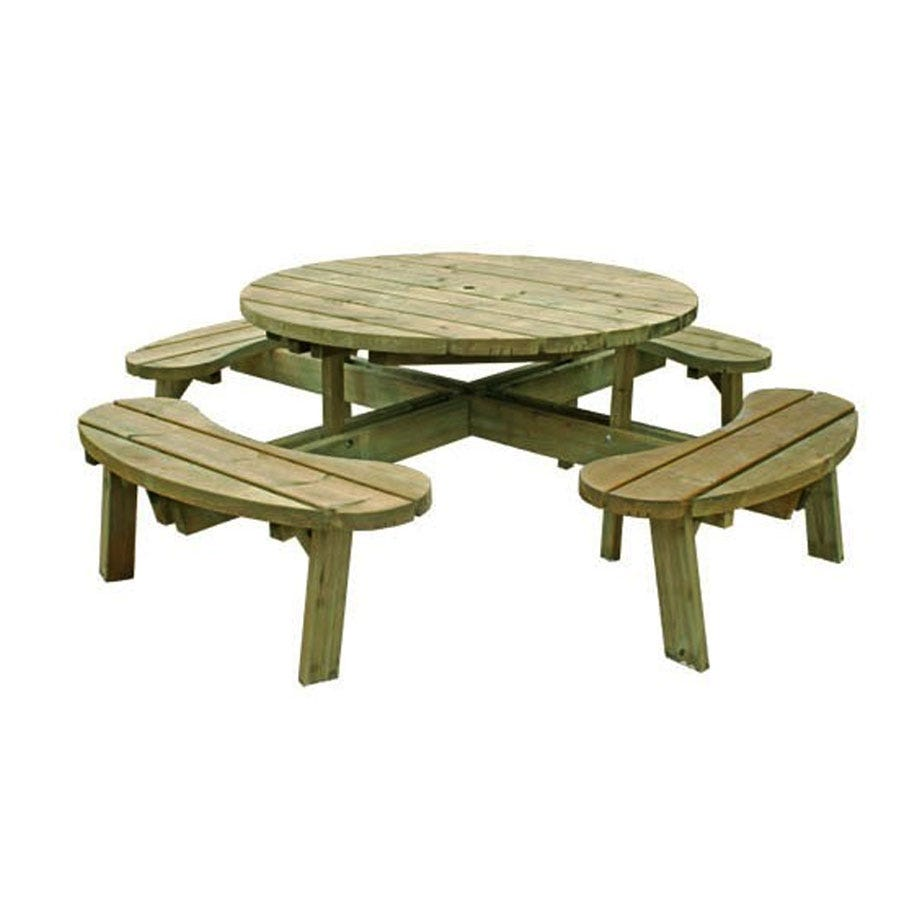 Compare prices for Grange Fencing Round Wooden Garden Picnic Table with Fixed Seats