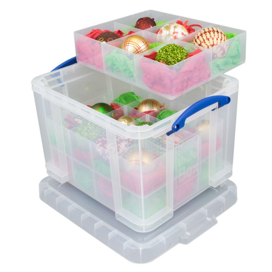 Really Useful 35L Stackable Bauble Storage Box - Clear