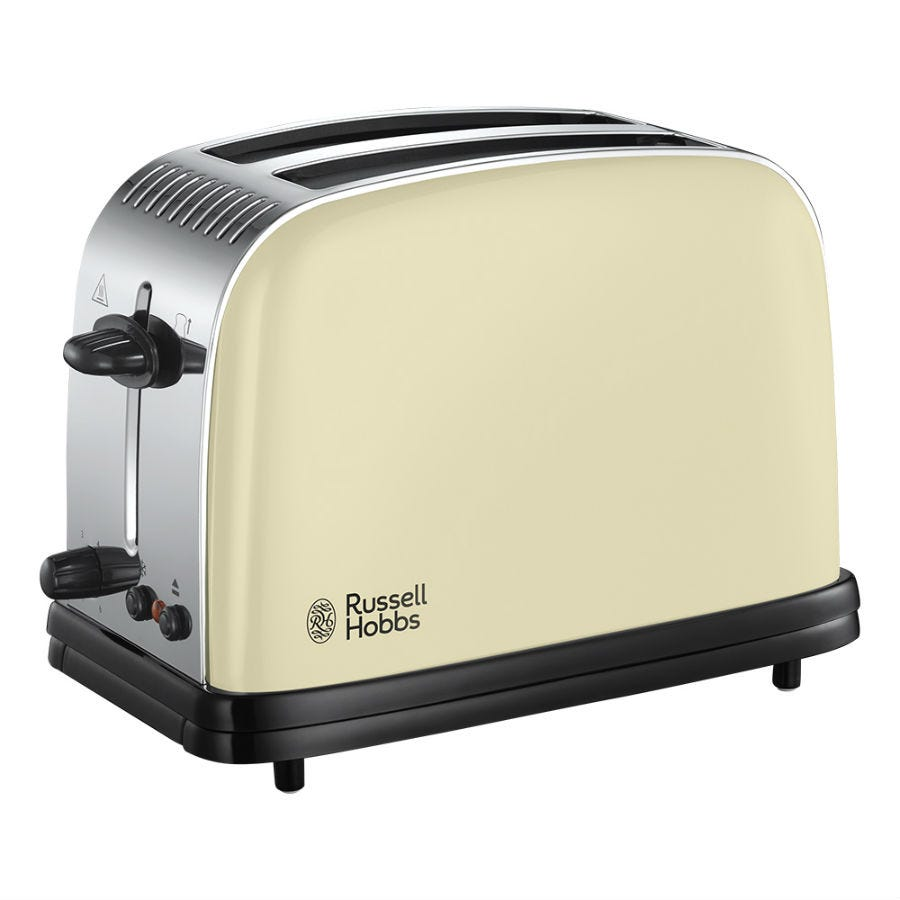 Russell Hobbs 23334 Colours Plus Wide-Slot 2-Slice Toaster - Cream