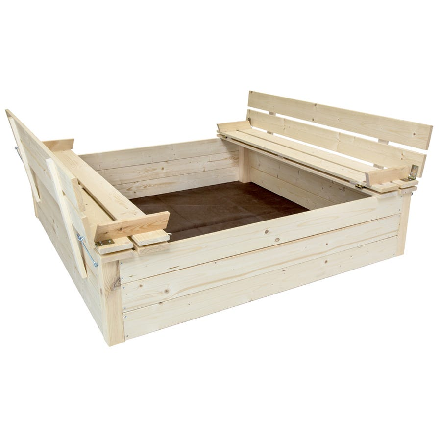 Charles Bentley Kids Wooden Outdoor Square Children's Sand Pit With Benches And Lid