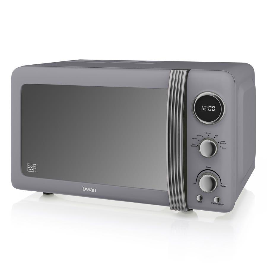 Swan SM22030GRN Retro 800W Digital 20L Solo Microwave - Grey