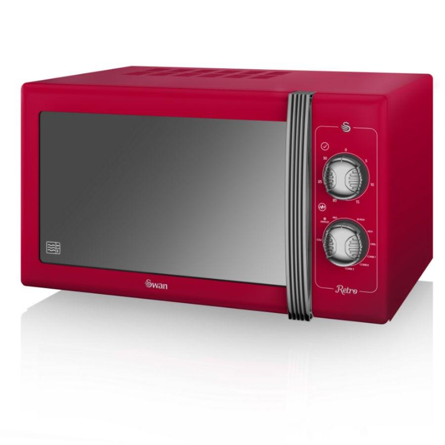 Swan SM22070RN Retro 900W 25L Manual Solo Microwave - Red