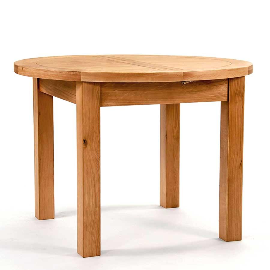 Ametis Devon Oak Round Extending Dining Table - 110cm to 145cm