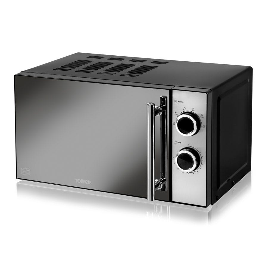 Tower 800W Microwave with Mirror Glass Front