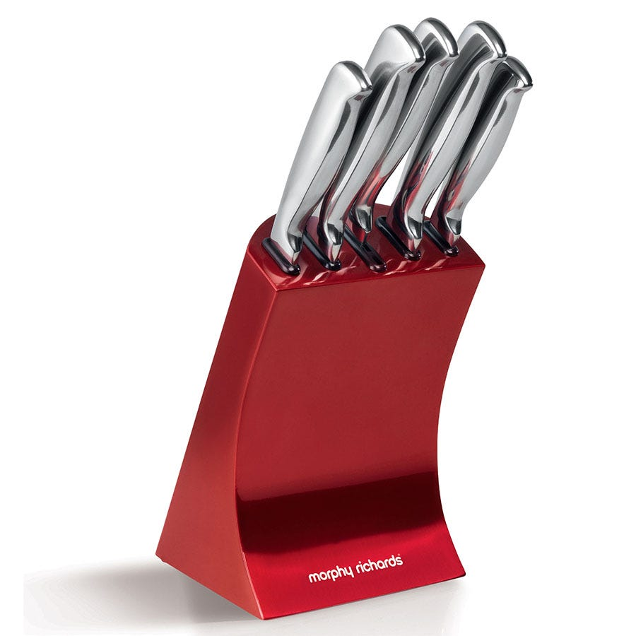 Compare cheap offers & prices of Morphy Richards 5-Piece Knife Block - Red manufactured by Morphy Richards