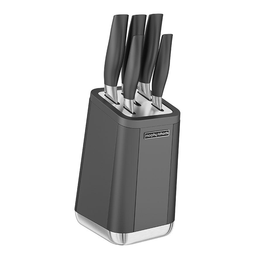 Compare cheap offers & prices of Morphy Richards Aspects 5-Piece Knife Block - Titanium manufactured by Morphy Richards