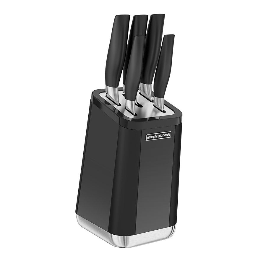 Compare cheap offers & prices of Morphy Richards Aspects 5-Piece Knife Block - Black manufactured by Morphy Richards