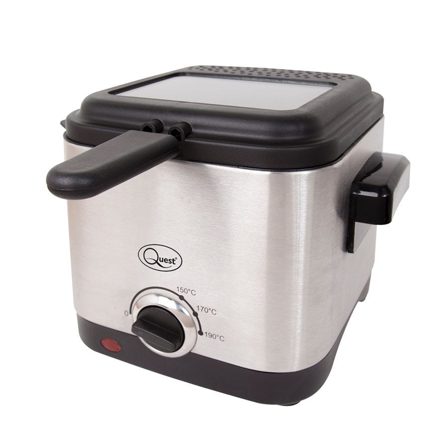 Quest 34250 1.5L Brushed Stainless Steel Square Deep Fat Fryer - Silver/Black
