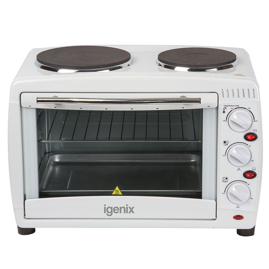 Igenix 26L White Mini Oven with Double Hot Plates
