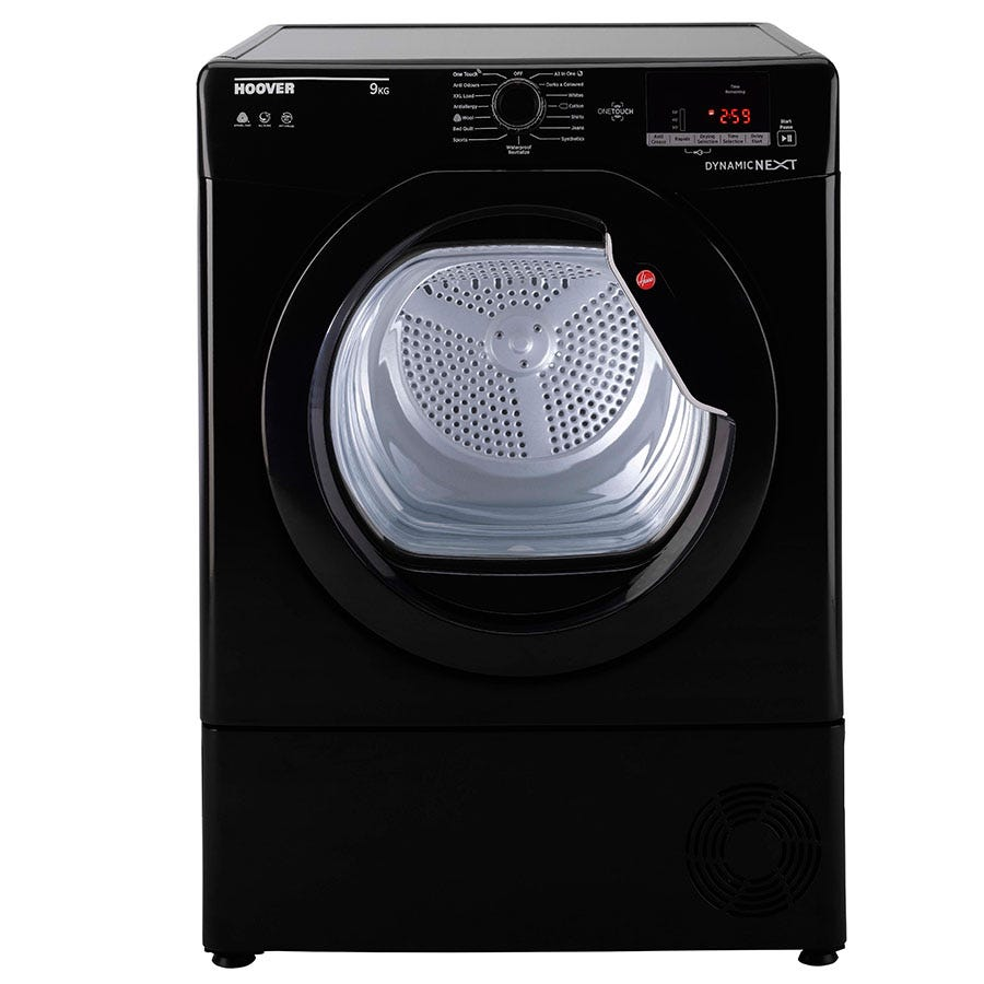Hoover Dynamic Next DXC9DGB 9kg NFC Condenser Tumble Dryer - Black with Black Glass Door