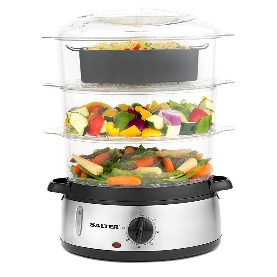Salter 3-Tier Healthy Cooking 9L Food Steamer - Stainless Steel