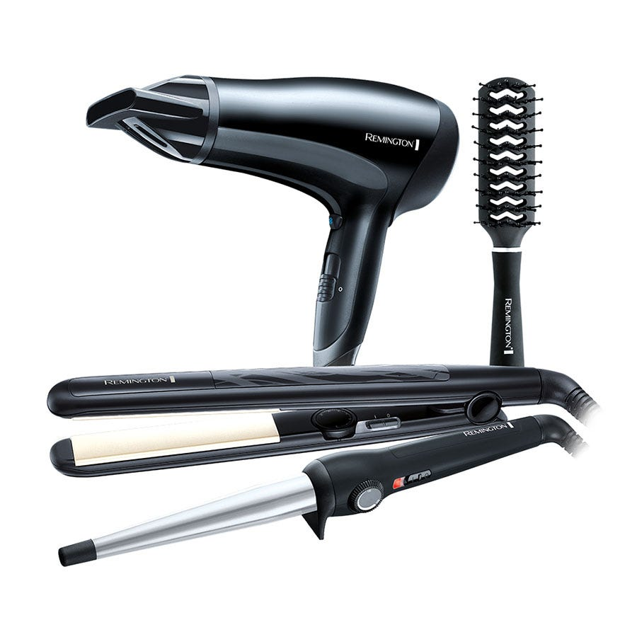 Remington Pro Hairdryer with Straightener and Brush Gift Pack - Black/Grey