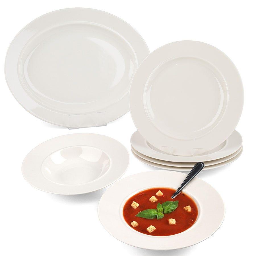 Blue stripe porcelain dinner plate - Alessi la bella tavola ...