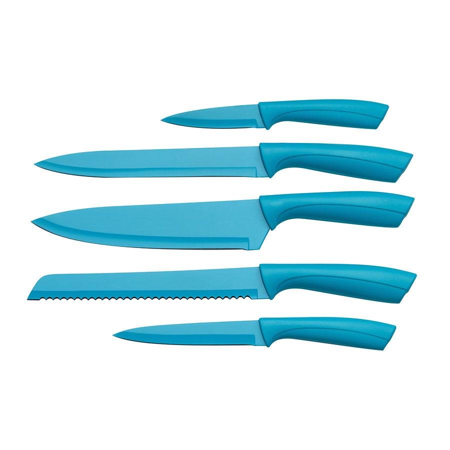 Premier Housewares 5-Piece Knife Block Set - Blue | £25.99 | Female ...