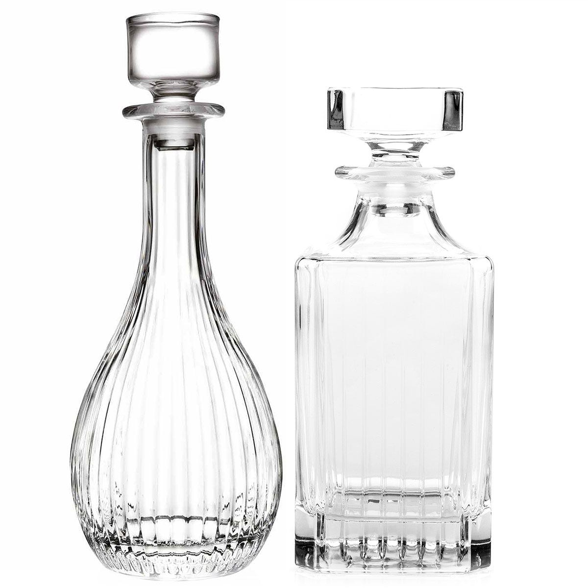 RCR Timeless Luxion Crystal Wine and Whiskey Decanter Set