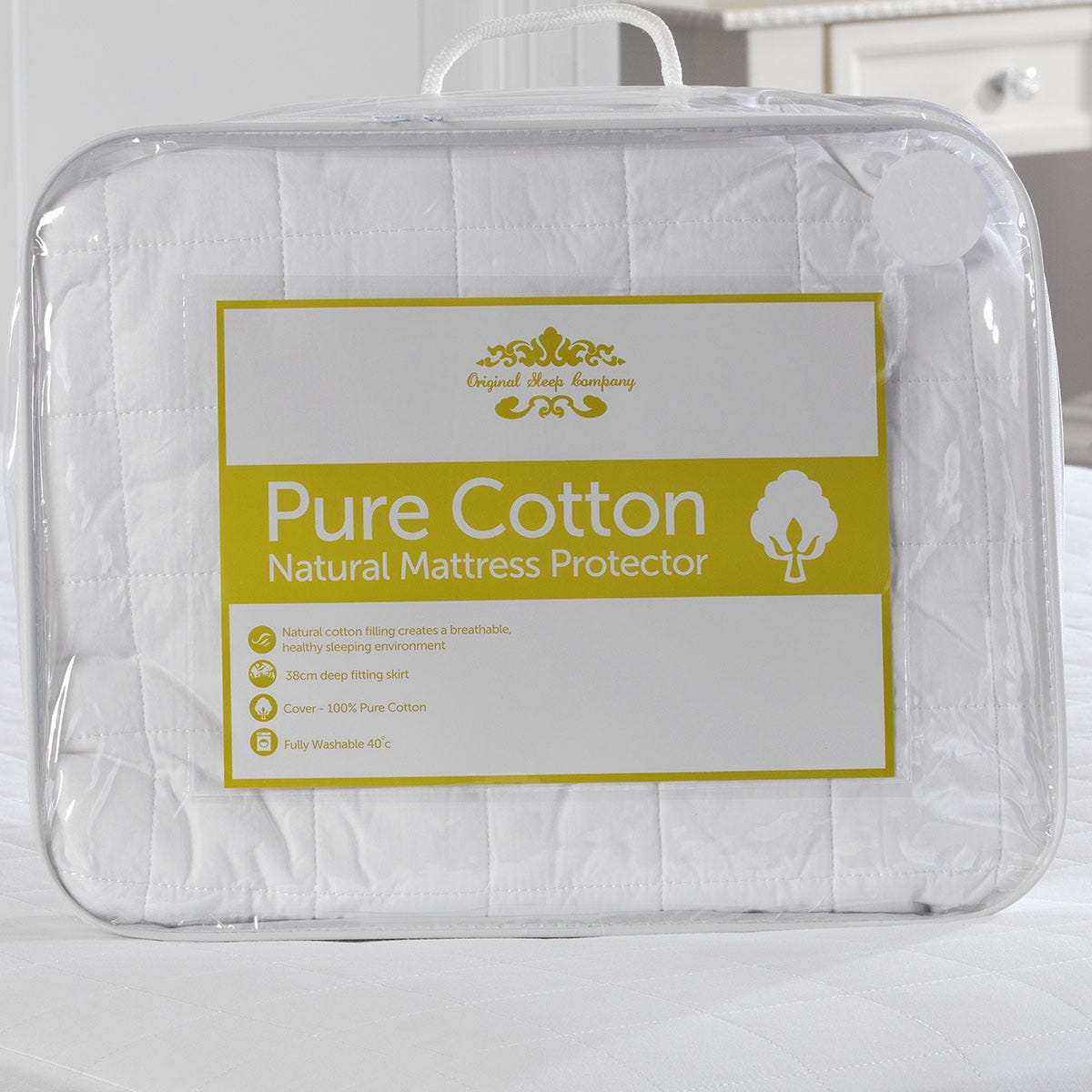Lancashire Textiles Pure Cotton Quilted Mattress Protector - Single