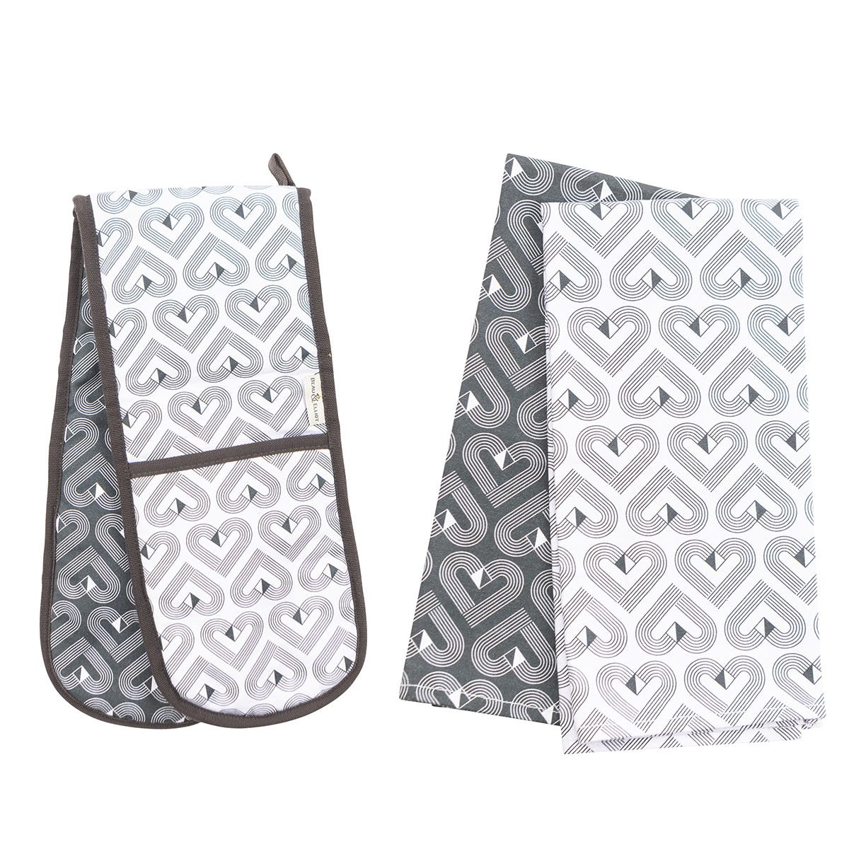 Beau & Elliot VIBE Set of Two Tea Towels and Double Oven Gloves - Slate/Chalk