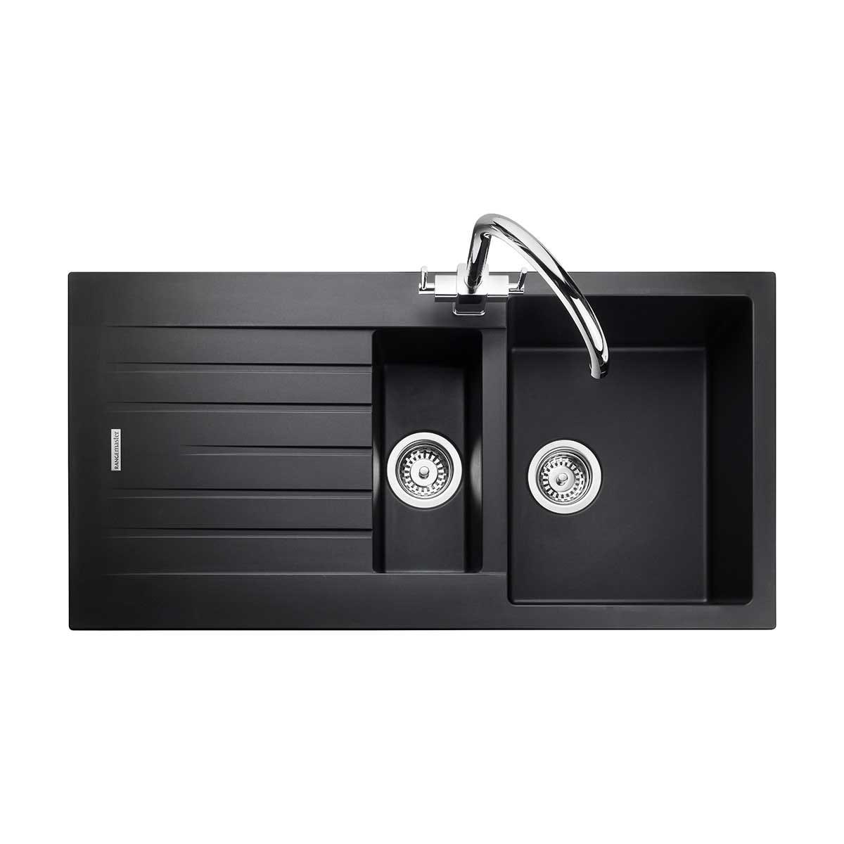 Aga Rangemaster Andesite 1-Tap 1.5 Bowl Igneous Granite Kitchen Sink - Ash Black
