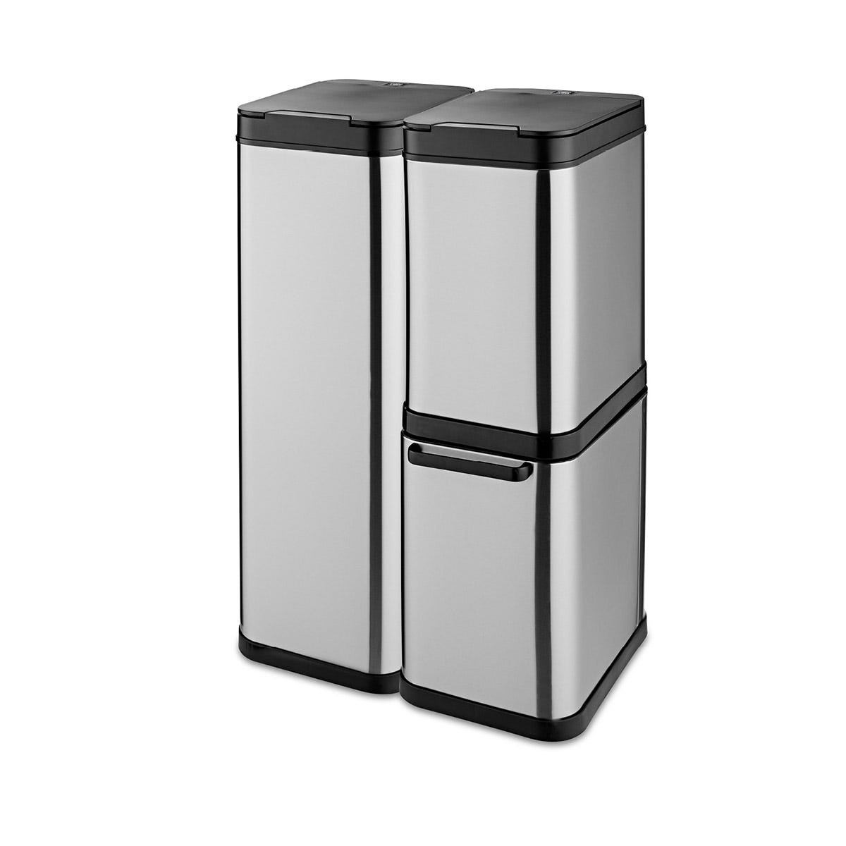 Tower 110L Stacked Sensor Recycling Bin - Stainless Steel