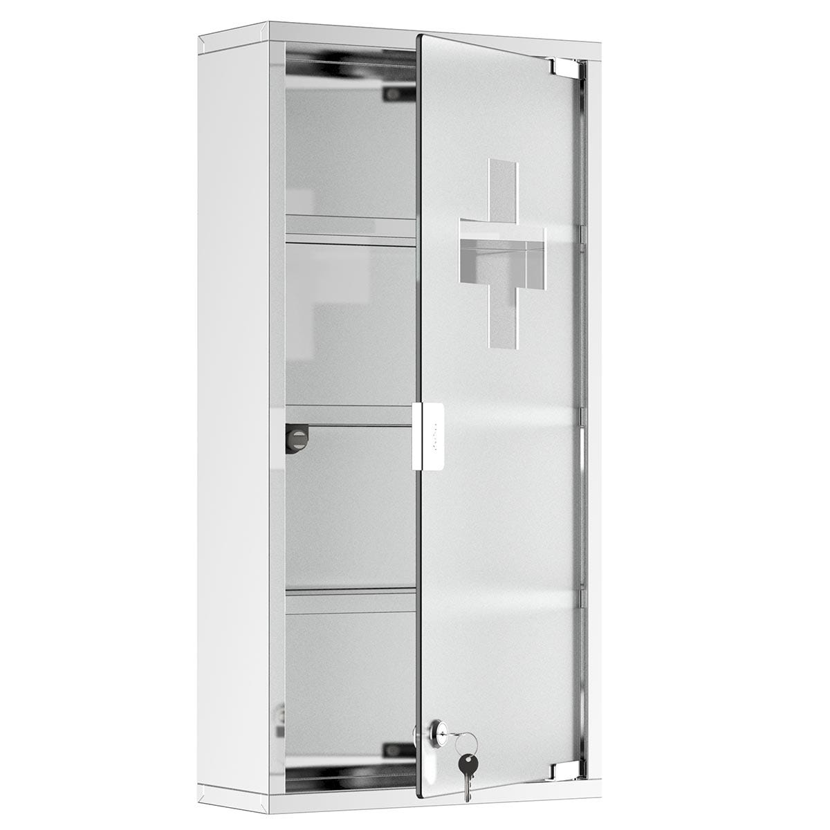 HOMCOM Medicine Cabinet, Stainless Steel With Glass Door - Silver