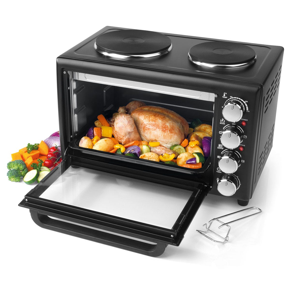 Salter 28L Mini Toaster Oven with 2 Hobs - Black