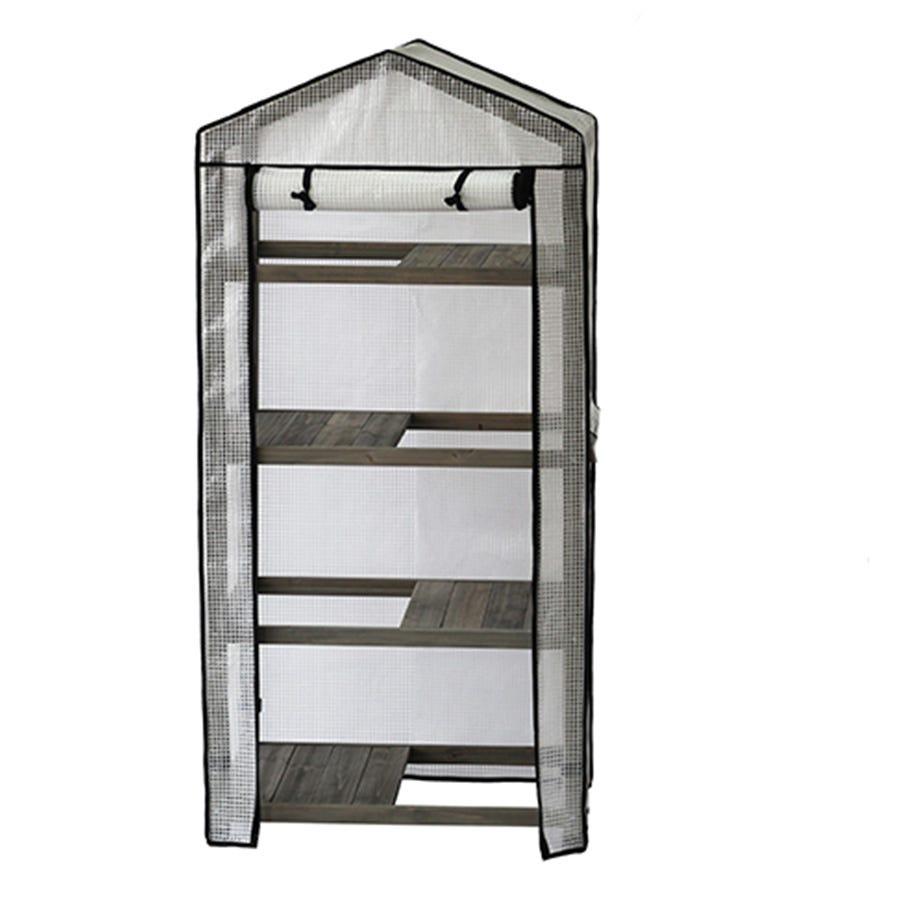 VegTrug 4-Tier Wooden Greenhouse with Cover - Grey