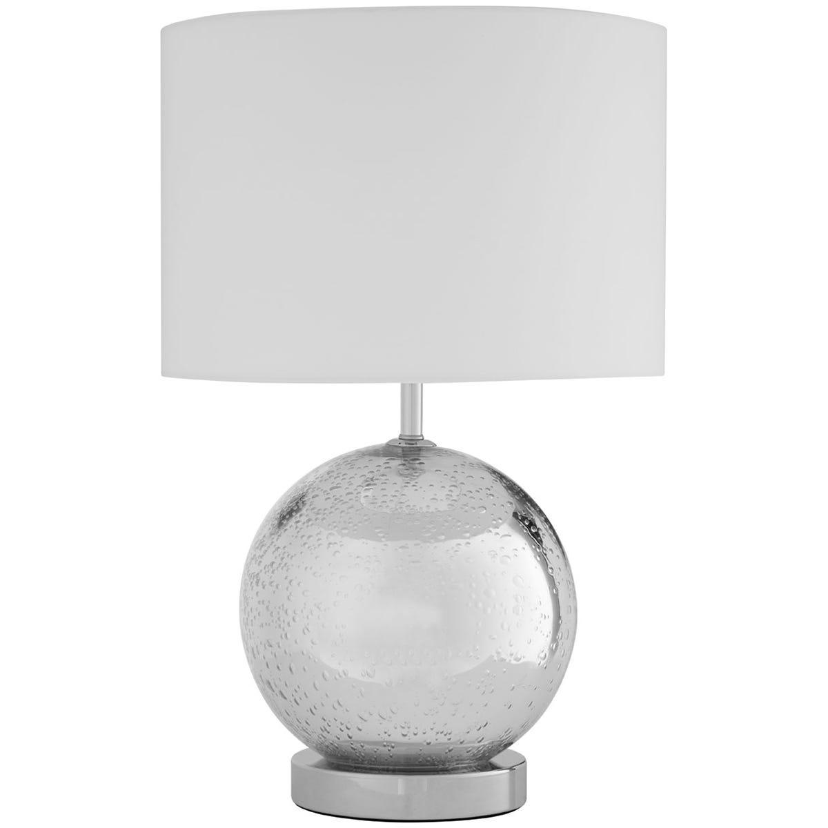 Premier Housewares Naomi Table Lamp Glass / Chrome Fabric Shade / UK Plug