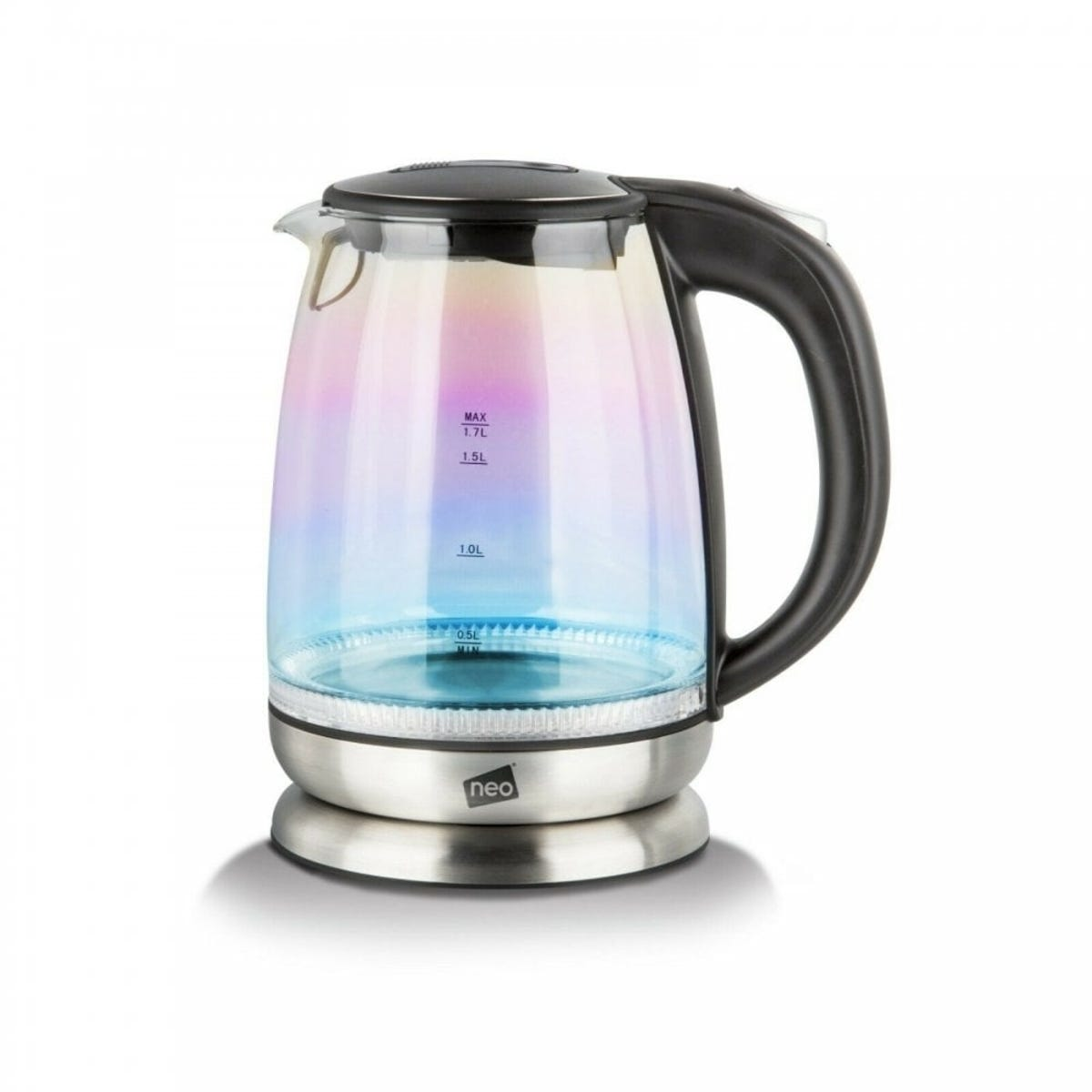 Neo 2200W 1.7L Colour-Changing Rainbow-Effect Glass Jug Kettle - Black