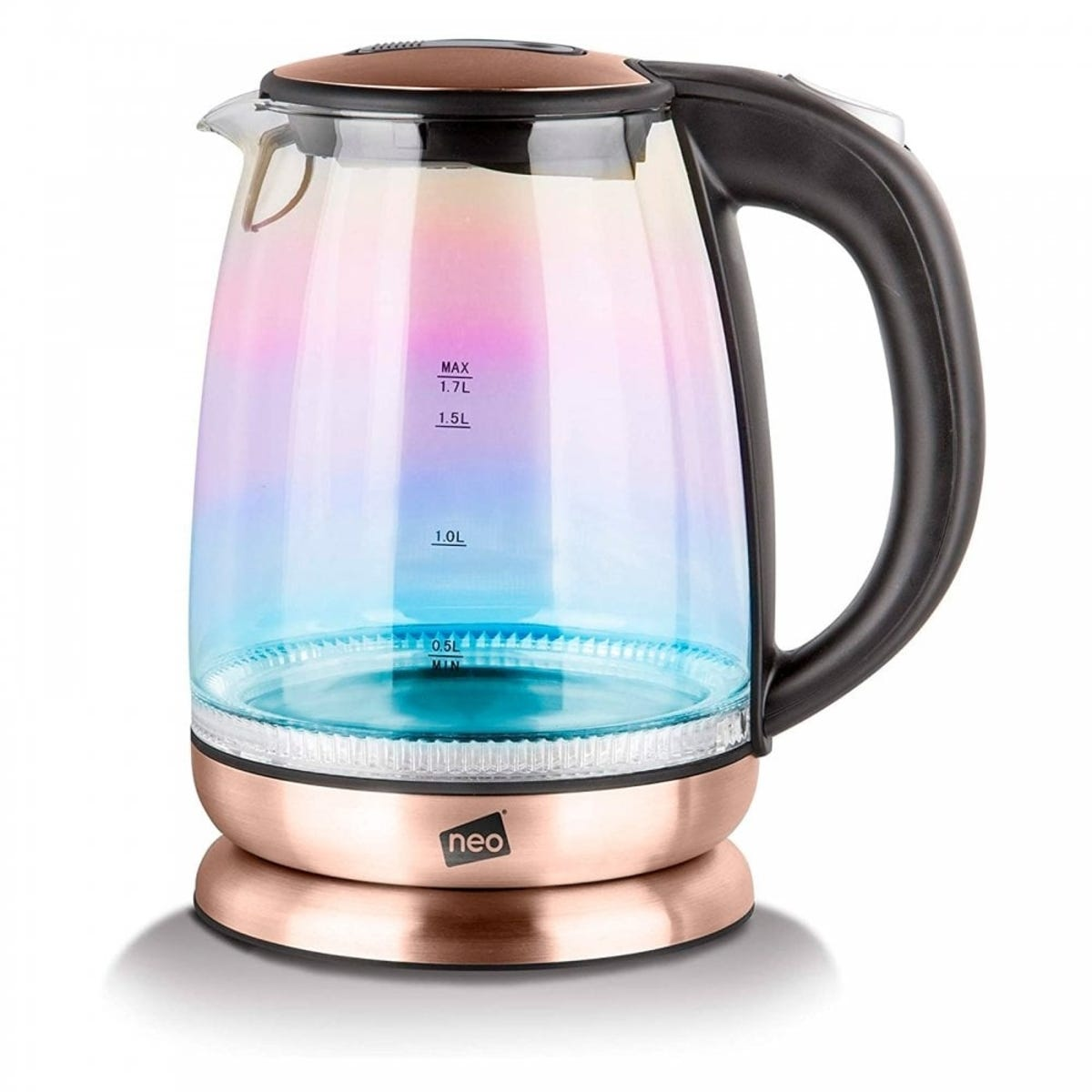 Neo 2200W 1.7L Colour-Changing Rainbow-Effect Glass Jug Kettle - Copper