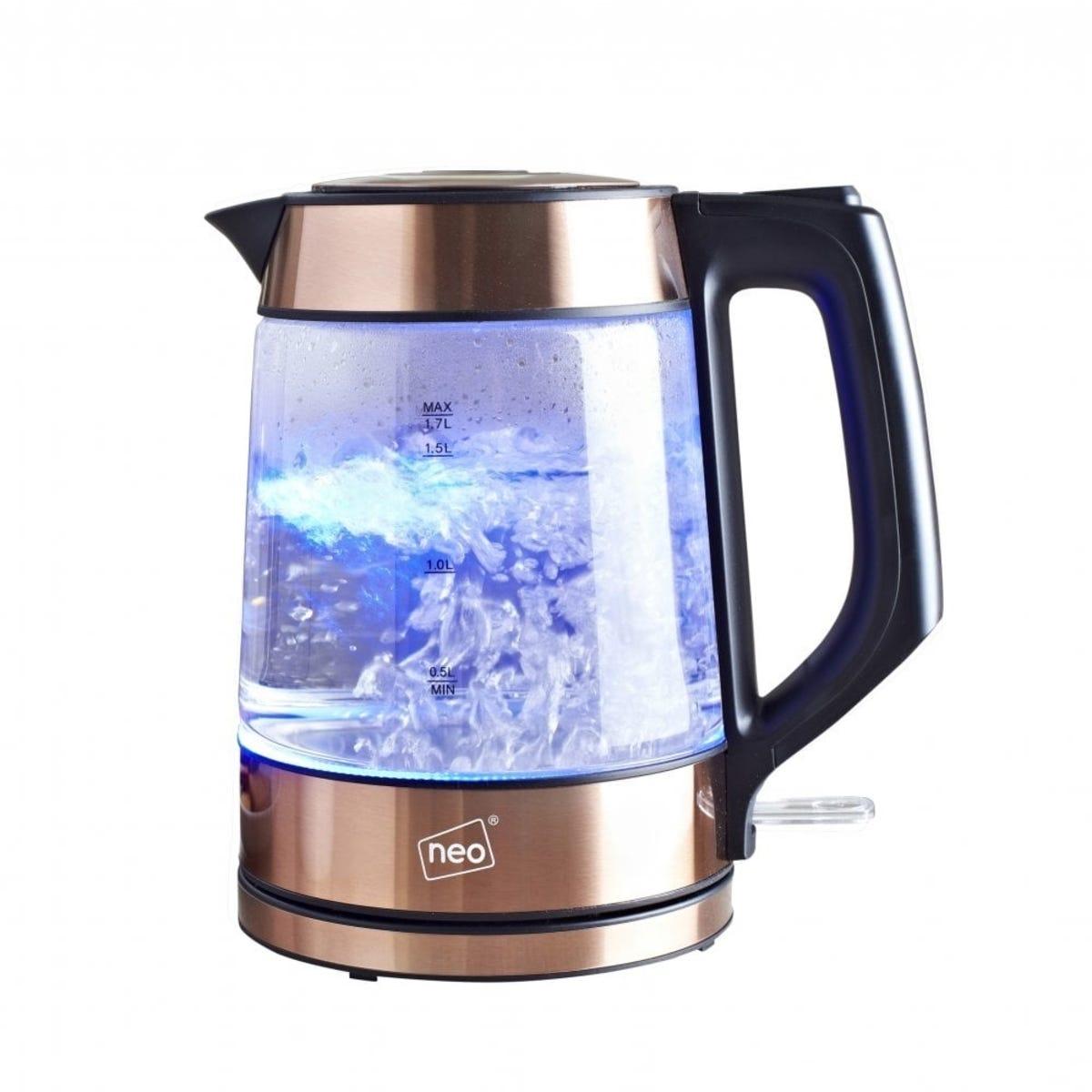 Neo 2000W 1.7L Cordless Nordic Illuminated Glass Jug Kettle - Copper